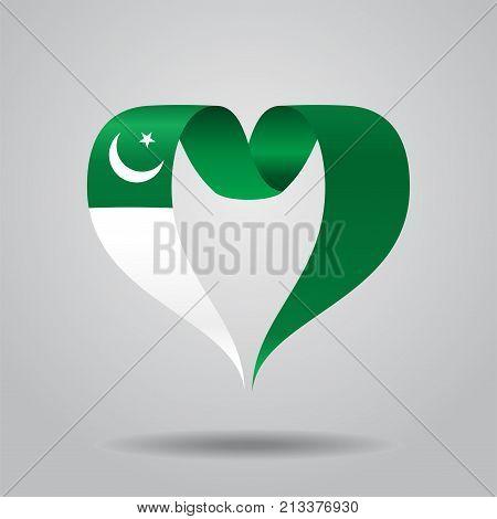 Pakistani flag heart-shaped wavy ribbon. Vector illustration.