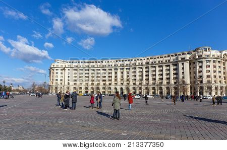 BUCHAREST, ROMANIA - DECEMBER 31: Piata Constitutiei on December 31, 2015 in Bucharest. Also known as Palace Square, is one of the largest squares in the center of Bucharest, Romania.