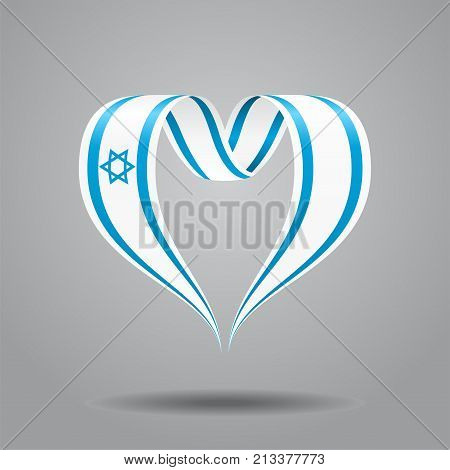 Israeli flag heart-shaped wavy ribbon. Vector illustration.