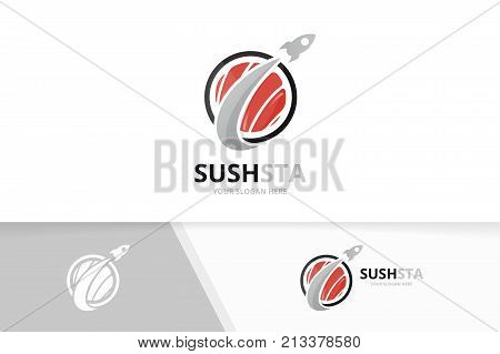 Vector sushi and rocket logo combination. Japanese food and airplane symbol or icon. Unique seafood and flight logotype design template.