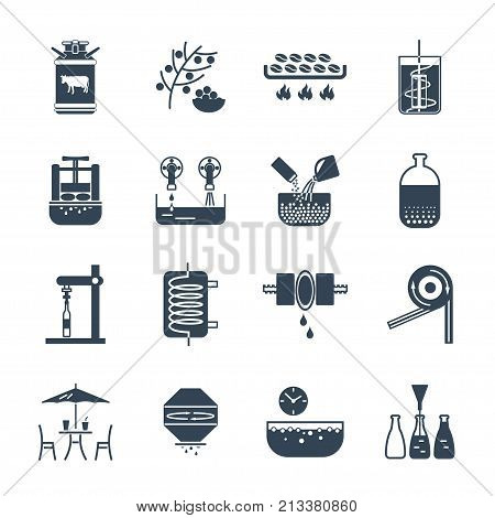 set of black icons drinks and beverages production process