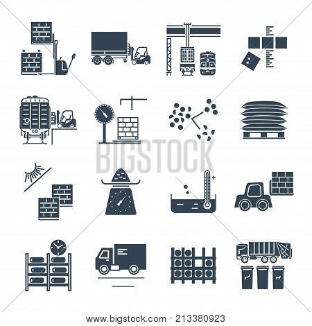 set of black icons warehousing storage of goods and materials
