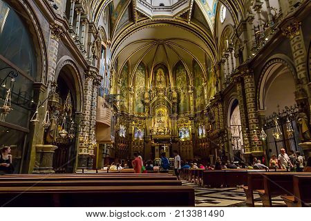 Spain. Catalonia. September 2017 Interior of the Church of Montserrat. Abbey is located on the mountain of Montserrat.