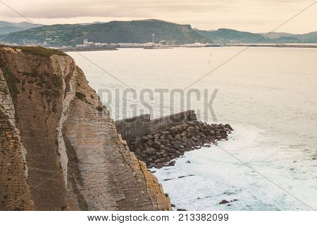 A top view on the beach of Getxo of the Atlantic ocean in Bilbao on the North of Spain.