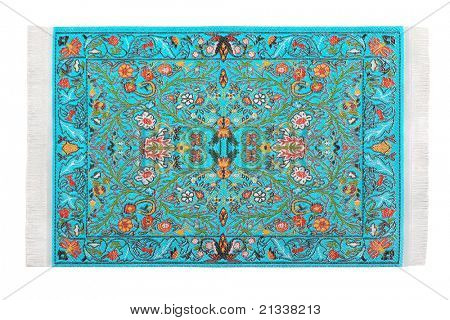 One turquoise carpet horizontally lies on  white background