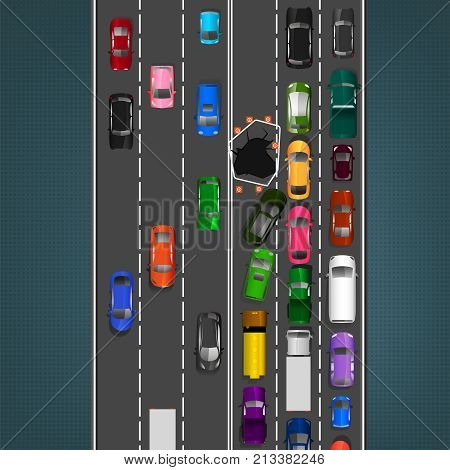 City traffic background with top view cars images. Editable vector illustration in modern flat style. Square layout useful for print, brochure, leaflet or poster design. Automotive collection.