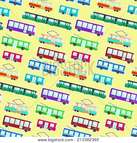 Kids pattern with colorful cartoon flat city transport on light yellow background. Nice children texture with bus tram trolley and underground for textile wrapping paper wallpaper cover package