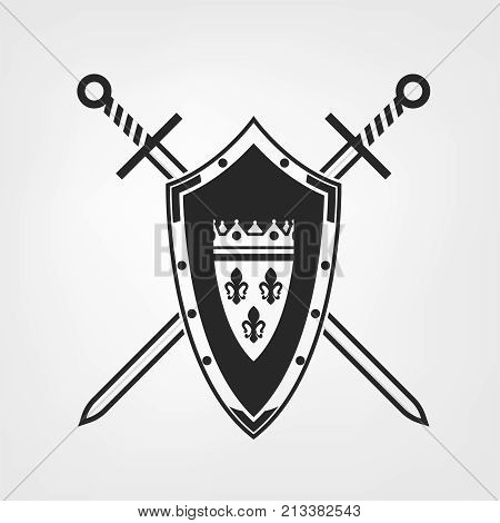 Medieval crossed swords and shield. Heraldic design elements useful for creating logos, icons, badges and emblems. Vector illustration in grey color isolated on white background.