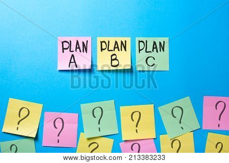Why does the plan not work? Plan a b c on office stickers and question marks on office stickers