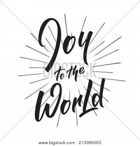 Christmas. Joy to the World text lettering design. Holiday typography logo design.