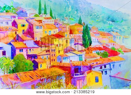 Watercolor painting landscape on paper colorful of village view on hill Summer season abstract blue sky background. Painted Impressionist illustration image.