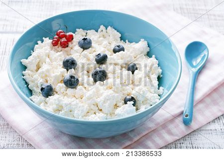 Organic curd cheese, farmer's cheese or cottage cheese in blue bowl. Closeup view. Healthy diet, dairy products concept