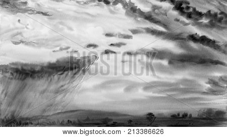 Watercolor painting landscape gray color of rain clouds, meadow cornfield in mountains. sky background. Hand Painted Impressionist abstract image.