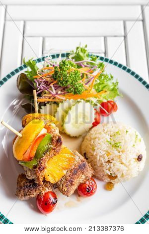 grilled beef skewer with fried rice