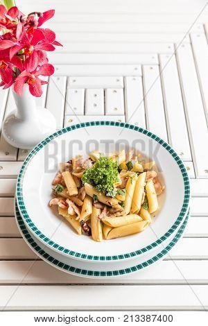 Bacon Aglio olio pasta with garlic and chilli