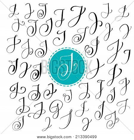 Set of Hand drawn vector calligraphy letter J. Script font. Isolated letters written with ink. Handwritten brush style. Hand lettering for logos packaging design poster. Typographic set on white background.