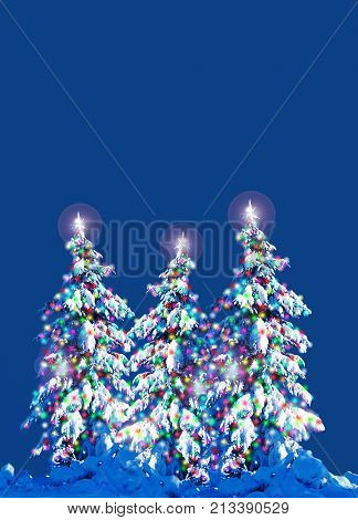 Snow covered Christmas trees with colorful lights outside at night.