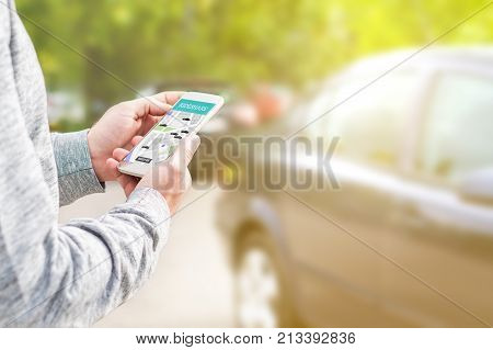 Online Ride Sharing And Carpool Mobile Application. Rideshare Taxi App On Smartphone Screen.