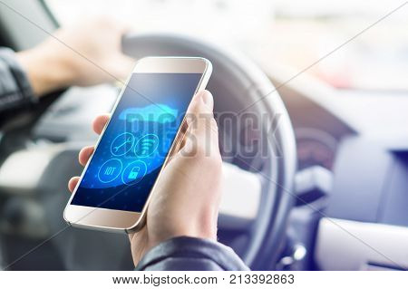 Internet Of Things (iot) Mobile App In Smart Phone For Modern Car. Hand Holding Smartphone With Futu