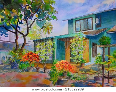 Watercolor landscape original painting colorful of home with flowers garden green tree and sky cloud background. Hand painted illustration.