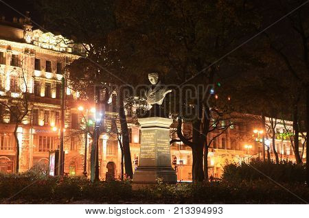 St. Petersburg, Russia - October 27, 2012: Vasily Zhukovsky bust in the Alexander Garden at night