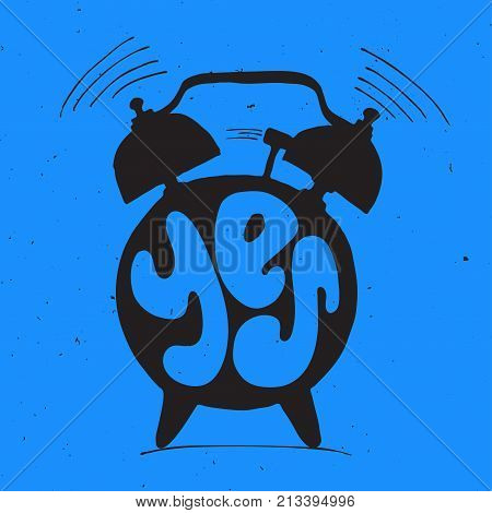 ringing alarm clock with light texture and lettering with Yes word. Time and start new day Concept with yes letters isolated on blue background