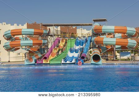 Swimming Pool With Water Slides In A Luxury Tropical Hotel Resort