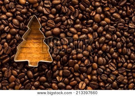 Christmas Tree Shape In Coffee Beans