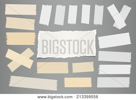 White ripped notebook, note paper sheet, sticky adhesive sticky tape for text or message on gray background