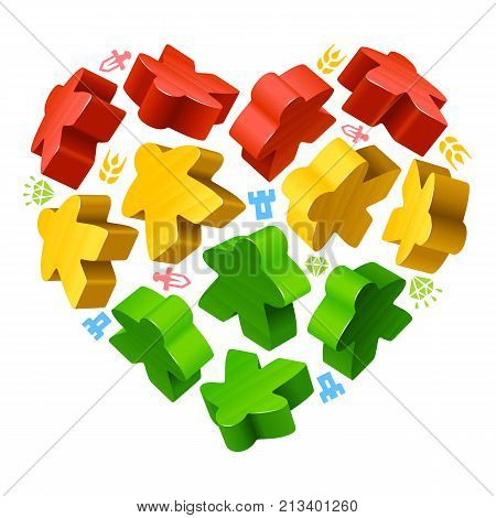 Vector multicoloured game pieces in the shape of heart. Red yellow and green wooden meeples and resources counter icons isolated on white background. Concept of love by board games