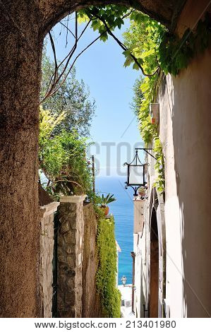Characteristic alley in Positano town Amalfi coast Italy Europe