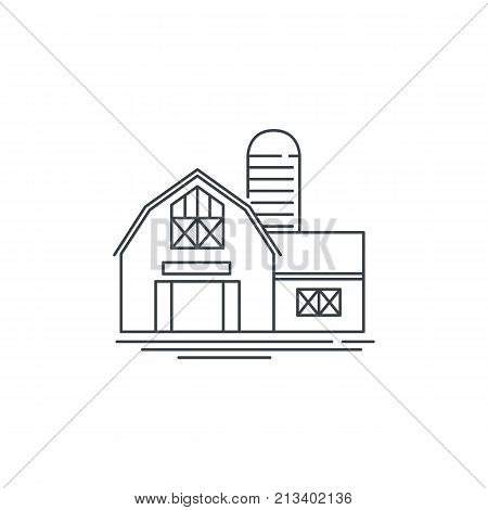 Farmhouse barn line icon. Outline illustration of horse barn vector linear design isolated on white background. Farm logo template, element for farming design, line icon object