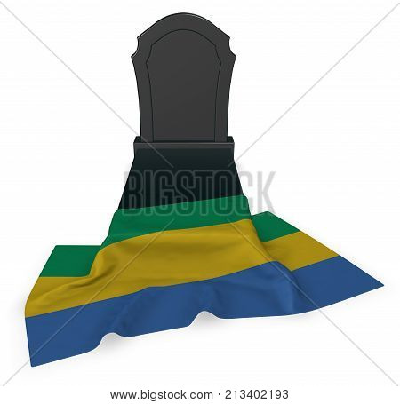 gravestone and flag of gabon - 3d rendering