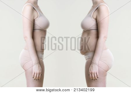 Woman's body before and after weight loss on a beige background