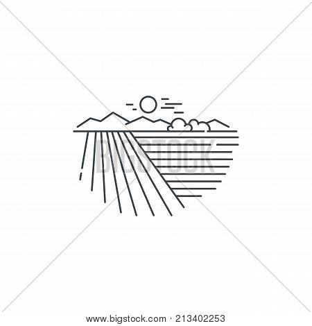Farm landscape, field line icon. Outline illustration of wheat field vector linear design isolated on white background. Farm logo template, element for agriculture business, line icon object