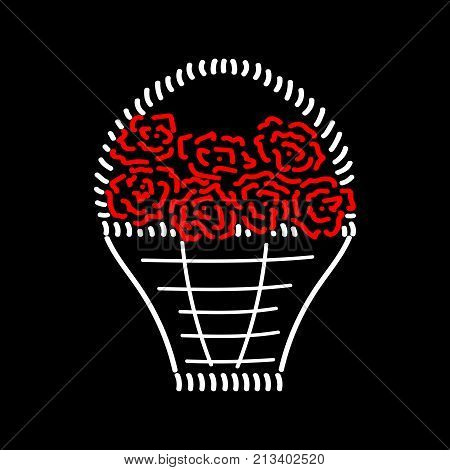Basket with roses sign. Image of handmade weave. Color icon isolated on black background. Red seven roses in decorative wicker basket for gift. Logo for invitation. Stock vector illustration