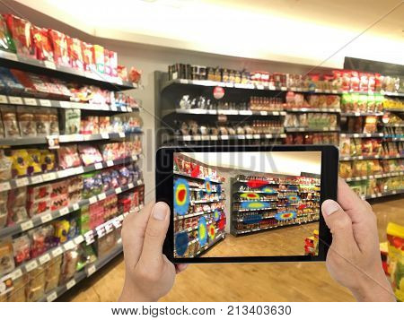 Augmented and virtual reality technology futuristic concept Retailer use augmented combine virtual reality technology to find the data of eye tracking heat map to management analysis to improve