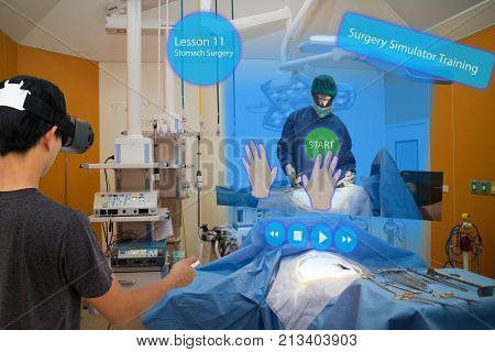 Smart medical with augmented and virtual reality technology concept medical student use ar and vr for practice the surgery simulation to assist the doctor in vr in operation room to feel like a real