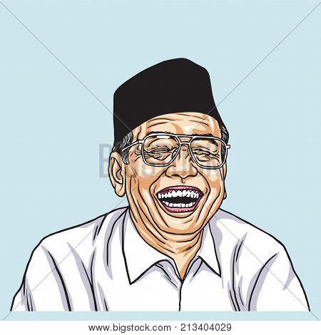 Gus Dur Abdurrahman Wahid Vector Illustration Drawing. November 13, 2017