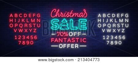 Christmas sale card template in neon style, isolated vector illustration. Bright advertising Christmas discounts for shops. Holiday discounts sale, broochure, glowing neon sign. Editing text neon sign