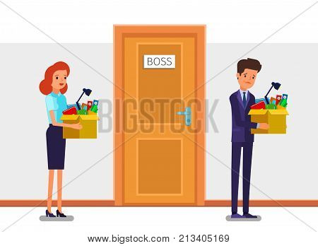 Concept of New job, hiring and dismissal. Happy young business woman holds a box with his things and going into new office. Dismissed frustrated businessman. Flat design, vector illustration.