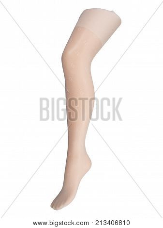 women's tights on plastic mannequin isolated on white background