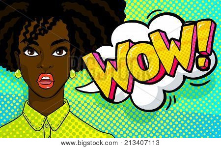 Confused or surprised african american woman face. WOW word bubble in pop art comics style.