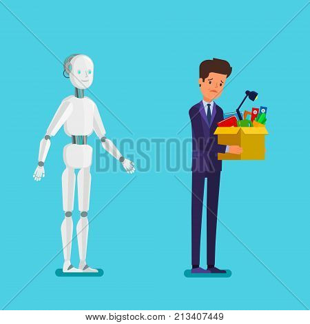Concept of artificial Intelligence and business automation. Businessman standing with robot. Dismissed frustrated businessman. Flat design, vector illustration.