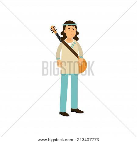 Flat cartoon man hippie with guitar. Carefree male with long hair dressed in blue and white classic woodstock sixties hippy subculture clothes. Youth movement. Love and pacifism. Vector on white