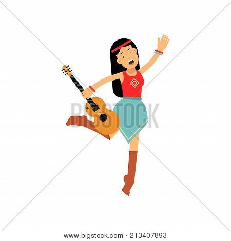 Flat cartoon woman hippie singing and dancing with guitar. Happy female with long hair dressed in blue skirt, red shirt. Sixties hippy subculture. Youth movement. Love and pacifism. Vector on white