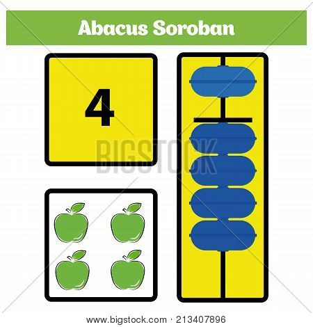 Abacus Soroban kids learn numbers with abacus math worksheet for children Vector Illustration.