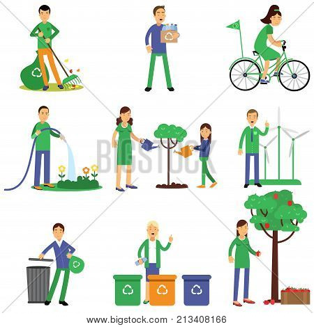 People volunteers cartoon characters contributing into environment preservation by collecting and sorting waste, planting and watering trees. People who protect nature. Flat vector isolated on white.