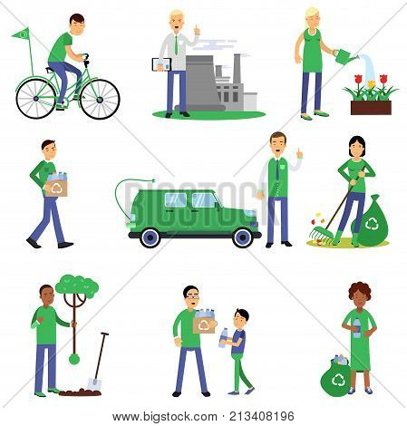 People volunteers characters contributing into environment preservation by collecting and sorting waste, planting trees, using electric car, protesting. People who protect nature. Flat vector on white