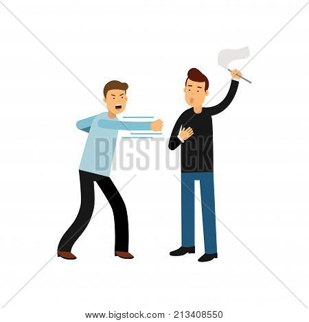 Extremely angry man character in fight action and frightened guy with white flag in his hand. Aggressive behavior and violent behavior concept. Flat vector illustration isolated on white background.